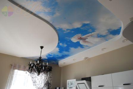 Сатиновый натяжной потолок с фотопечатью